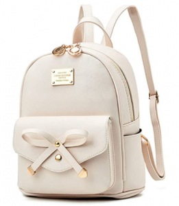 Girls Bowknot Cute Leather Backpack