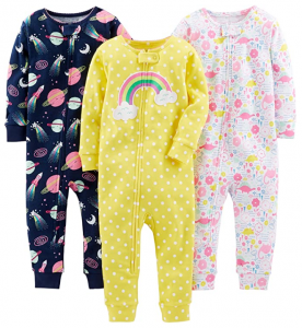 Simple Joys by Carter's Baby Girl's Footless Cotton Pajamas (3-Pack)